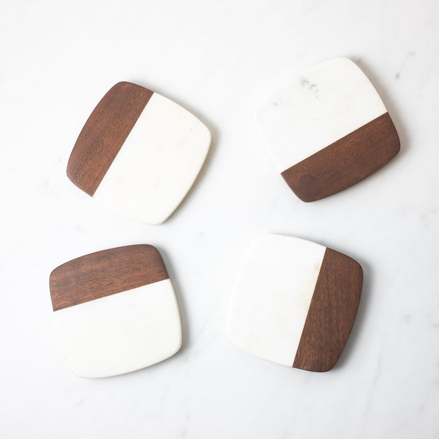 white marble and acacia wood coasters set of 4 Lunar Oceans