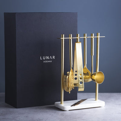 Marble & Gold Cocktail Set with stand by Lunar Oceans
