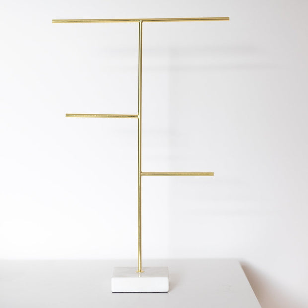 Gold Jewellery Stand with white marble base by Lunar Oceans
