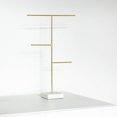 Lunar Oceans Marble & Gold Jewellery Stand