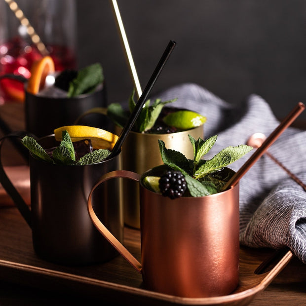 Cocktail moscow mule mugs in copper gold and space grey