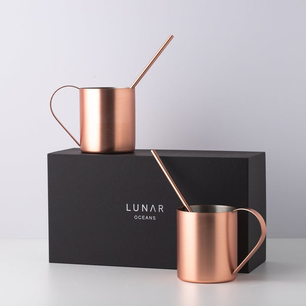 Copper Moscow Mule Mugs with Gift Box by Lunar Oceans