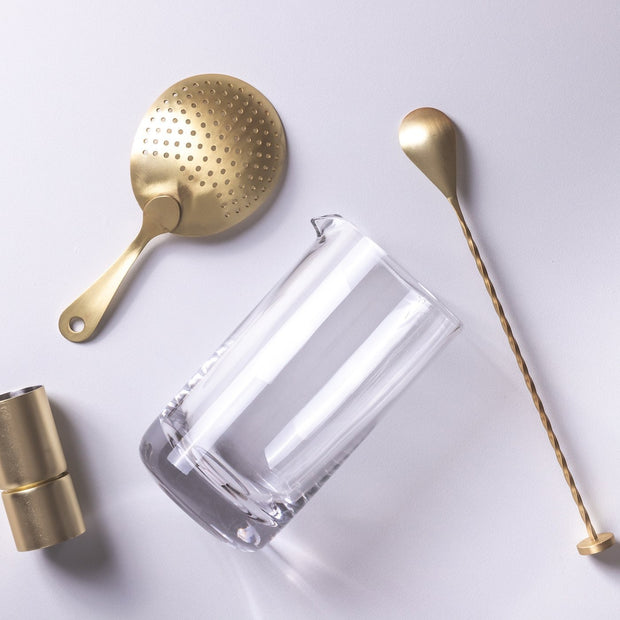 Gold Cocktail Tool Set With Mixing Glass By Lunar Oceans