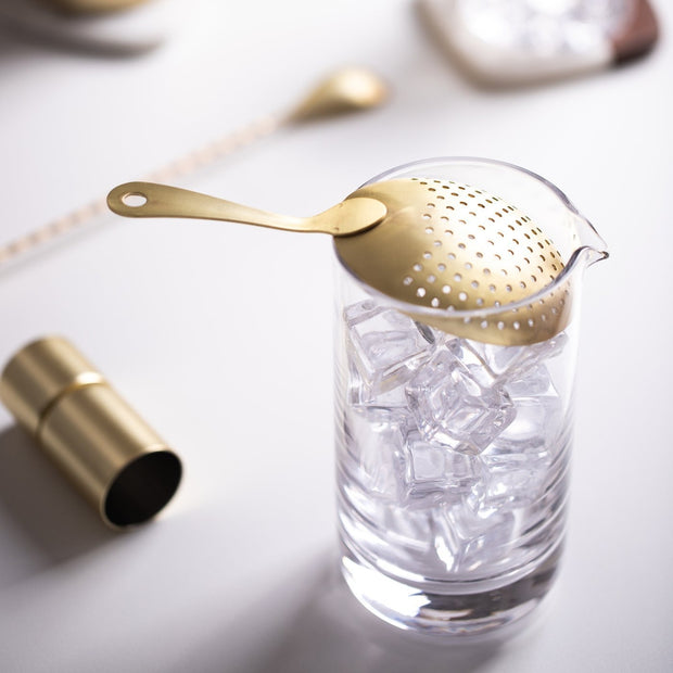Gold Strainer with Crystal Mixing Glass by Lunar Oceans