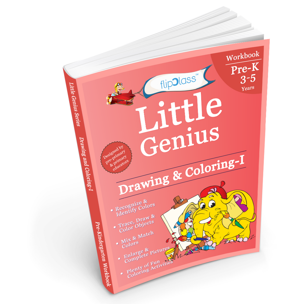 Drawing & Coloring: Pre-Kindergarten Workbook: Little Genius Series: Teaches Colour Recognition, Tracing & Drawing, Picture Enlargement & Completion with Multiple Fun Colouring Activities