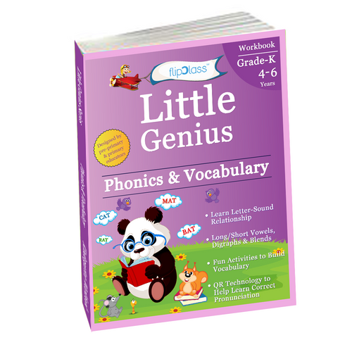 Phonics & Vocabulary: Kindergarten Workbook (Little Genius Series): Learn Pronunciation of Short & Long Vowels, Consonants and Build Vocabulary