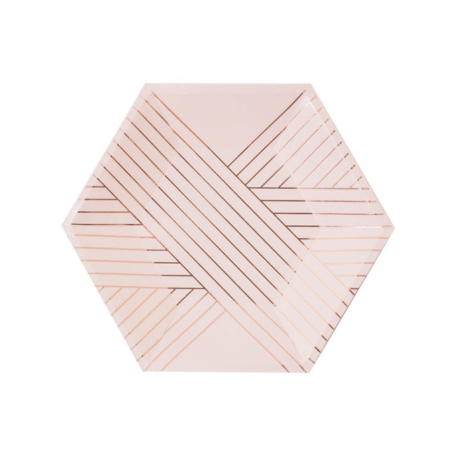 Pale Pink Striped Small Paper Plates