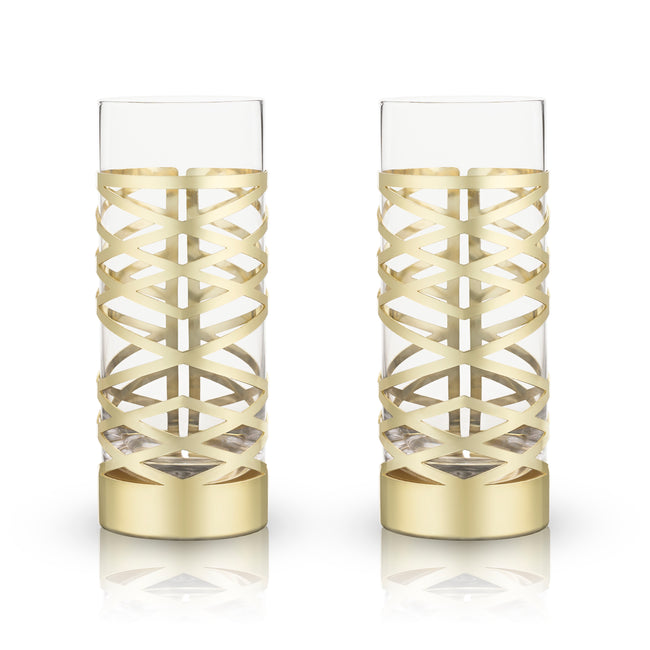 Gold Patterned Highball Glasses
