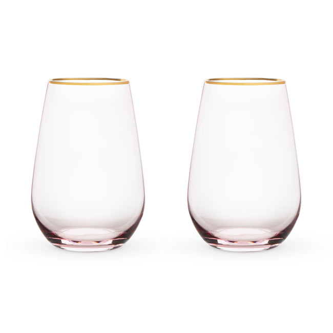Rose Stemless Wine Glasses
