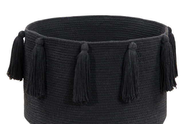 Tassels Black Cotton Basket