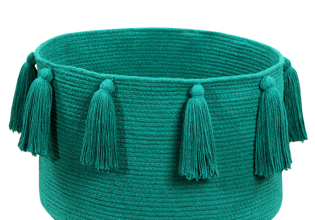 Tassels Emerald Cotton Basket