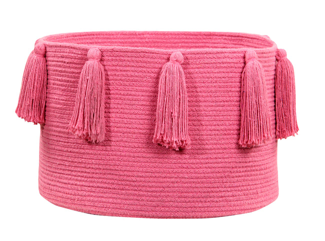 Tassels Fuchsia Cotton Basket