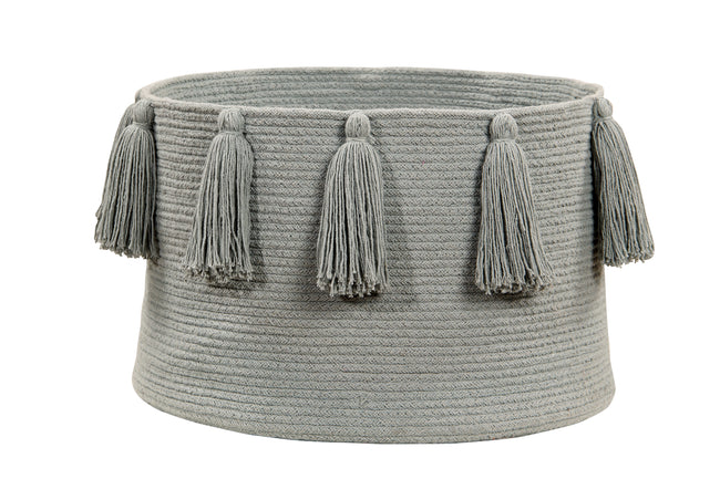 Tassels Light Grey Cotton Basket