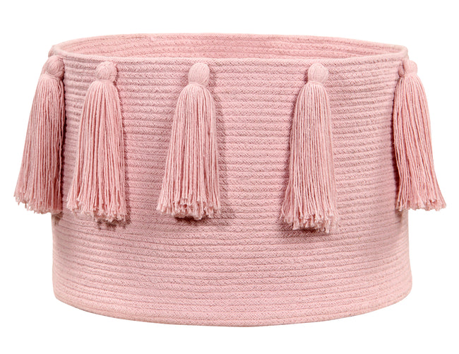Tassels Pink Cotton Basket