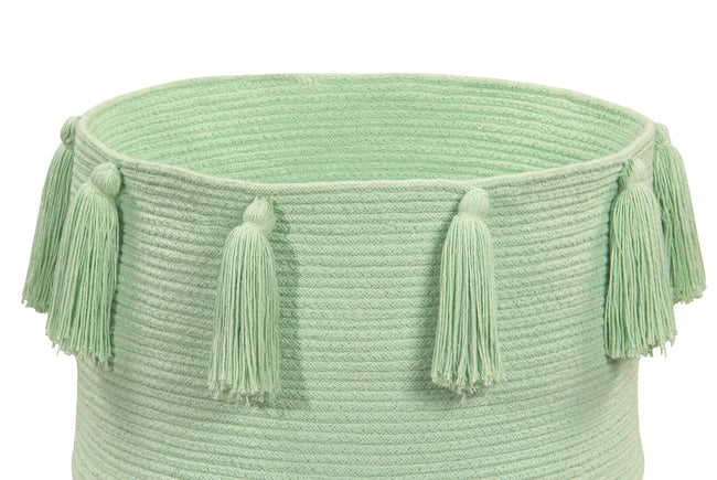 Tassels Soft Mint Cotton Basket