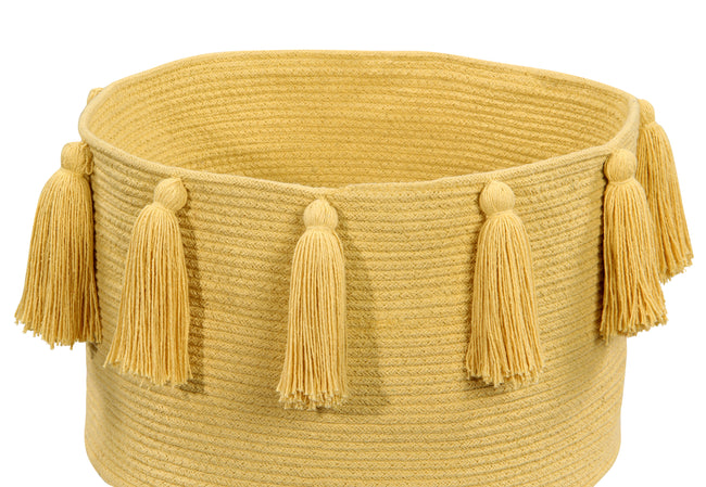 Tassels Yellow Cotton Basket