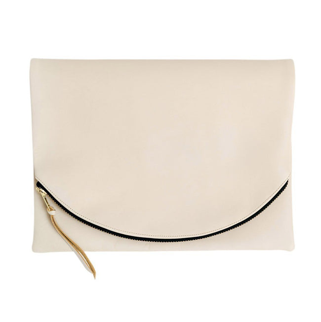Claudette Foldover Clutch in Beige