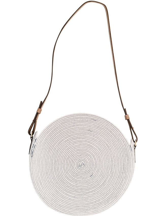Circle Market Tote in Blue + White