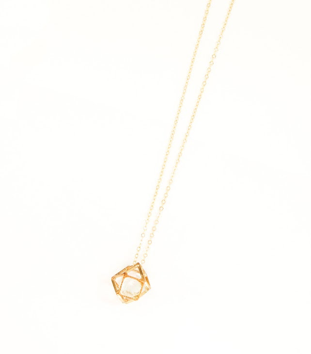 Crystal and Gold Hexagon Necklace