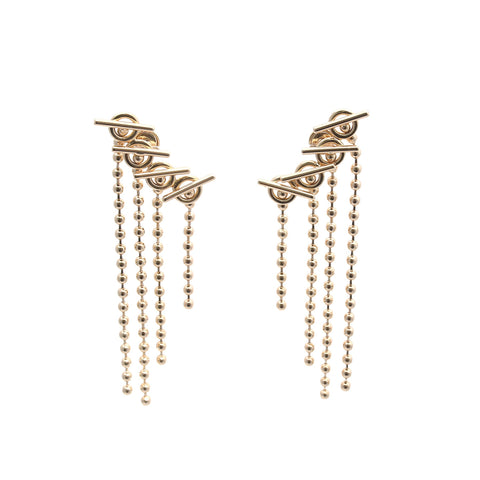 14k Gold and Diamond Bar Earrings