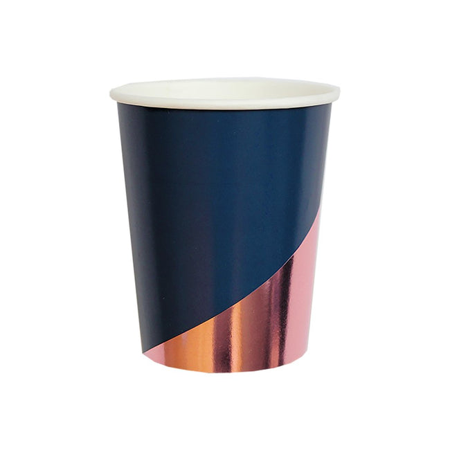 Navy Colorblock Paper Cups