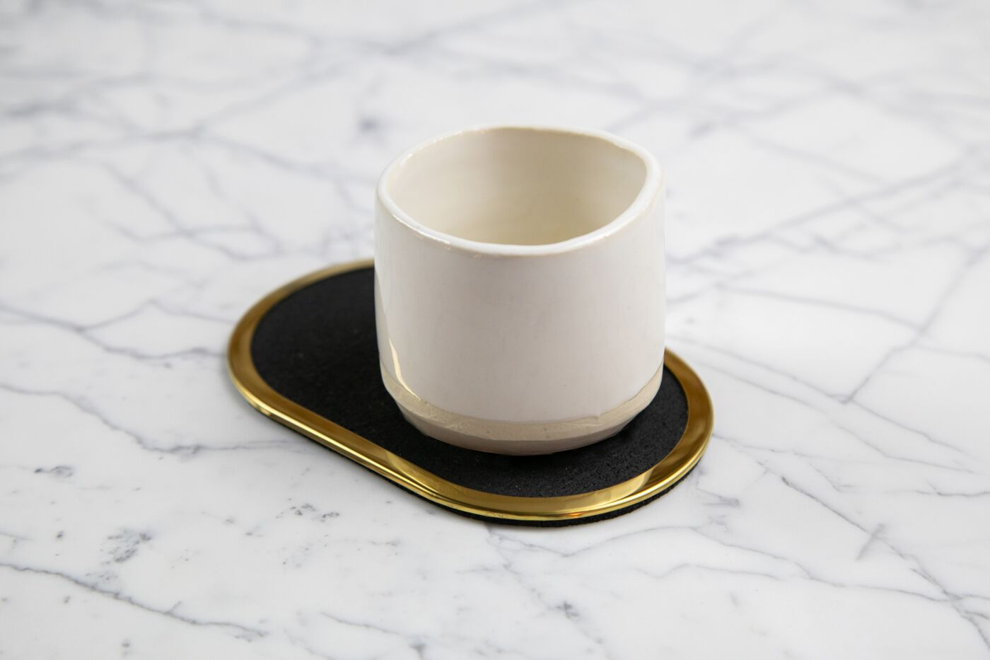 Rubber Coaster Brass Ring Set