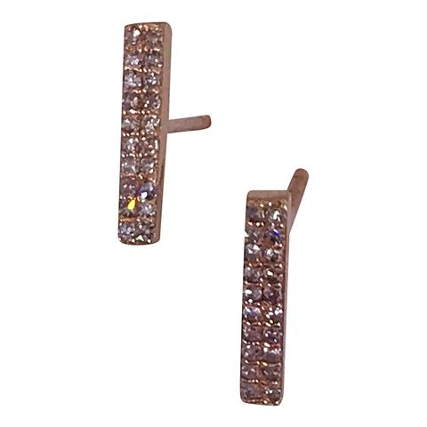 14k Rose Gold and Diamond Bar Earrings