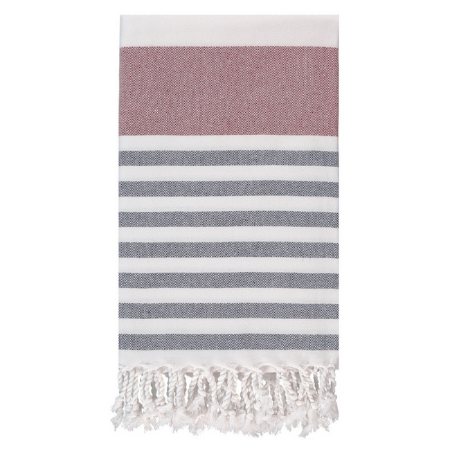 Marine Towel in Bordeaux + Navy