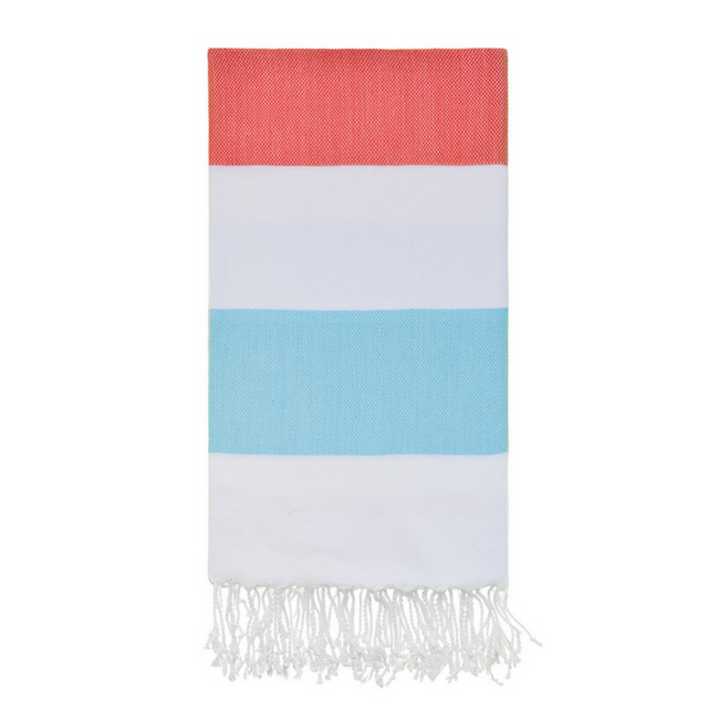 Doria Beach Towel in Coral + Mint