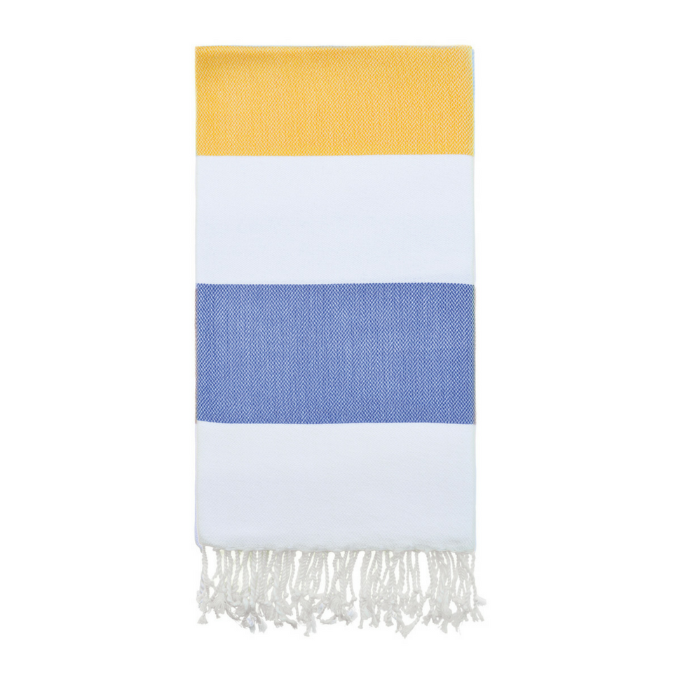 Doria Beach Towel in Yellow + Navy