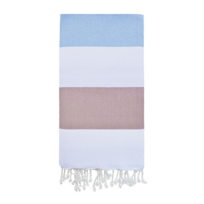 Doria Beach Towel in Blue + Coffee