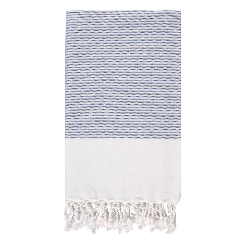 Candy Striped Body Towel in Sapphire