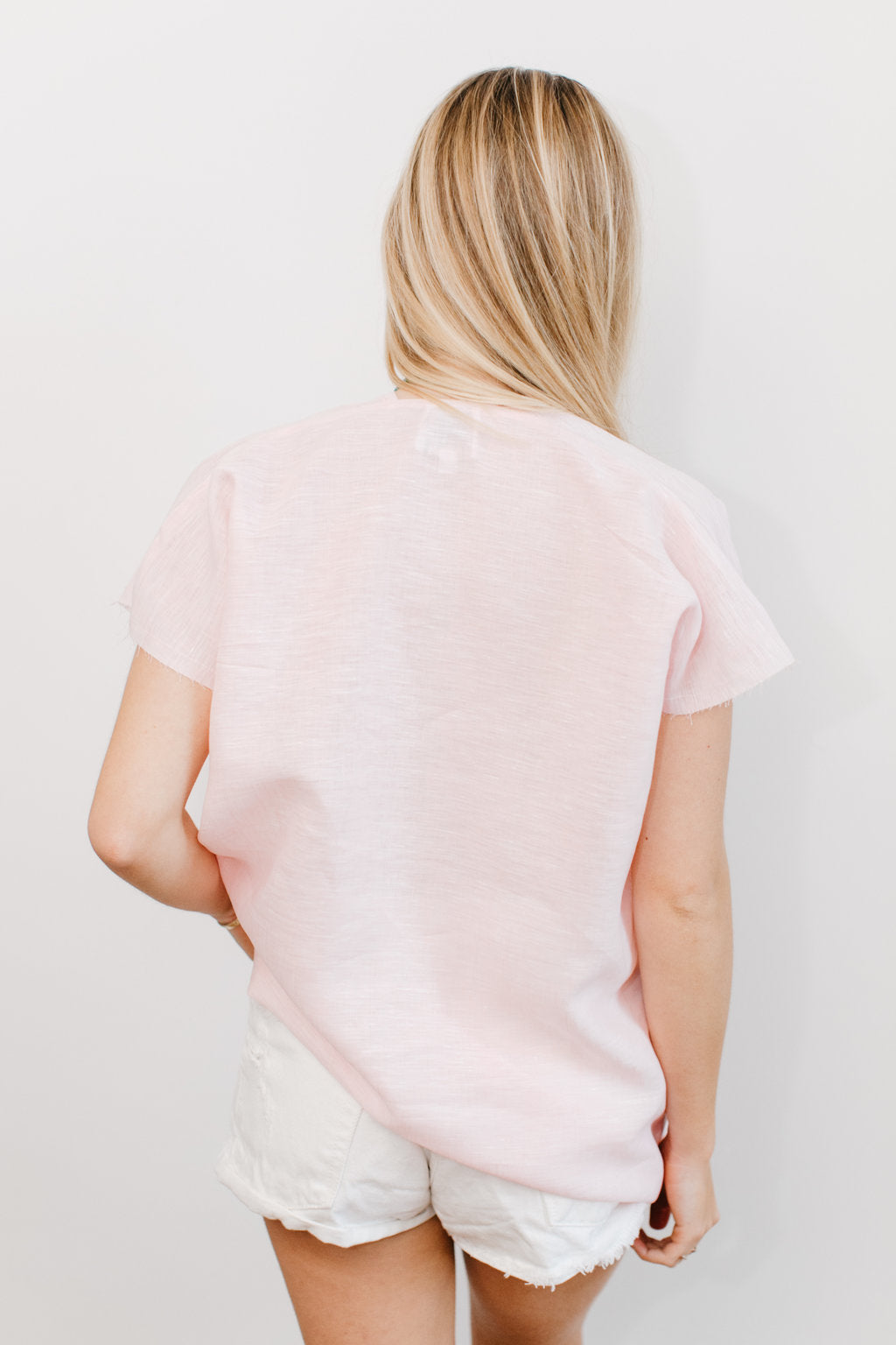 Light Pink Linen JAG Top