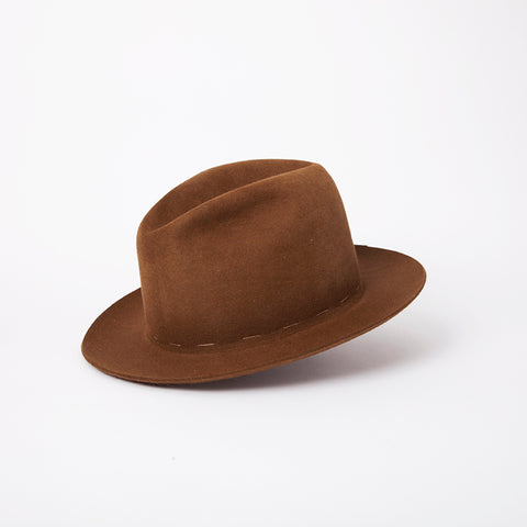 Pinch Front Beaver Hat in Saddle