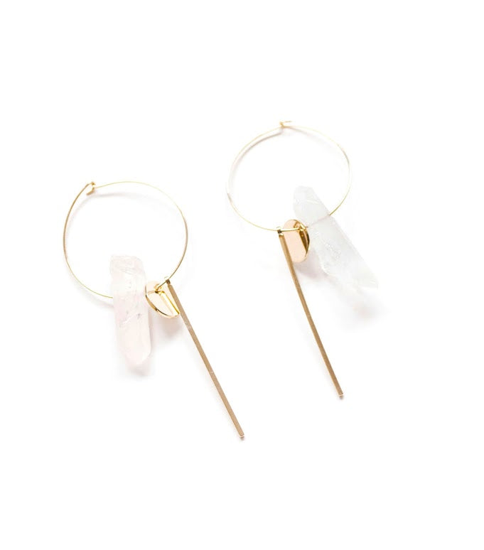 Quartz Hoop Earrings