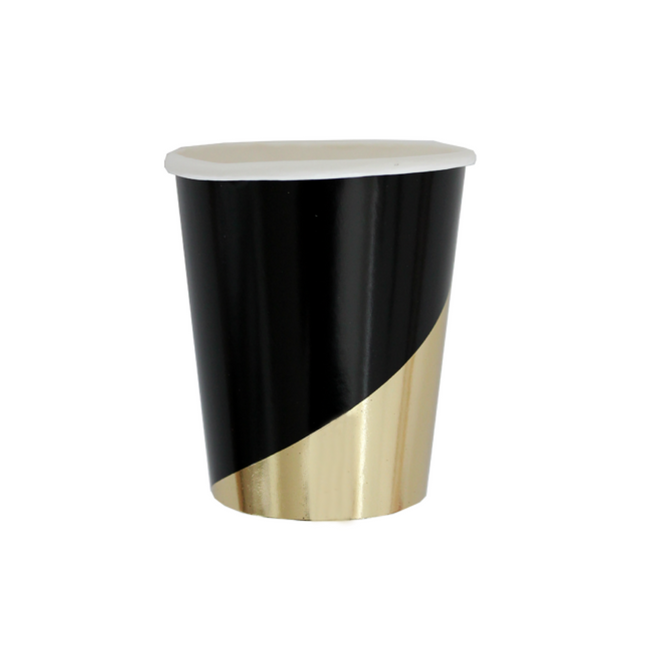 Black Coloblock Paper Cups