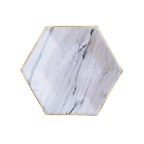White Marble Small Paper Plates