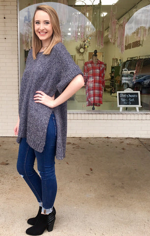 Gray Short Sleeve Sweater