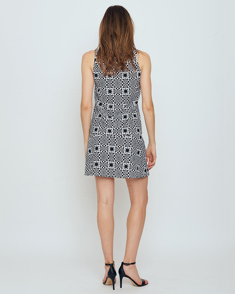 Bali Skort in Black & White Moroccan Tile
