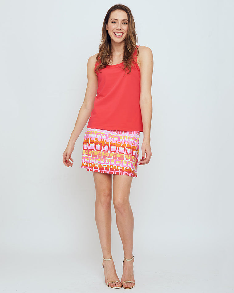 Serrano Tank Top in Hot Coral Solid