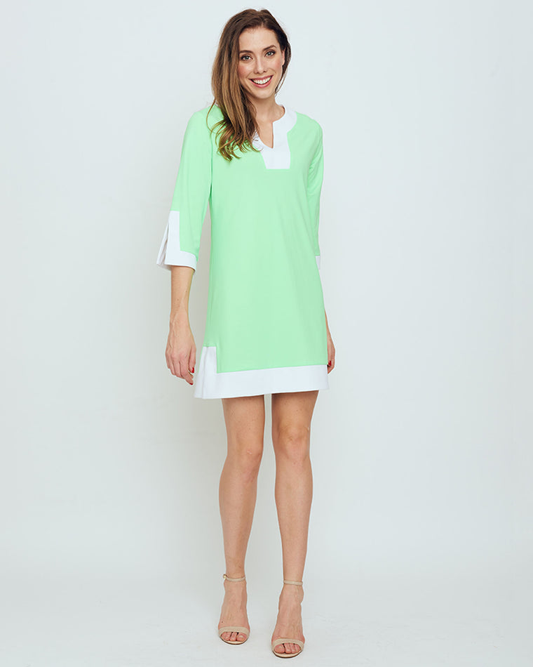 Avian Tunic Dress in Hot Lime Solid