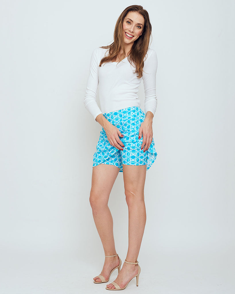 Bali Skort in Cyan Blue Ellipses