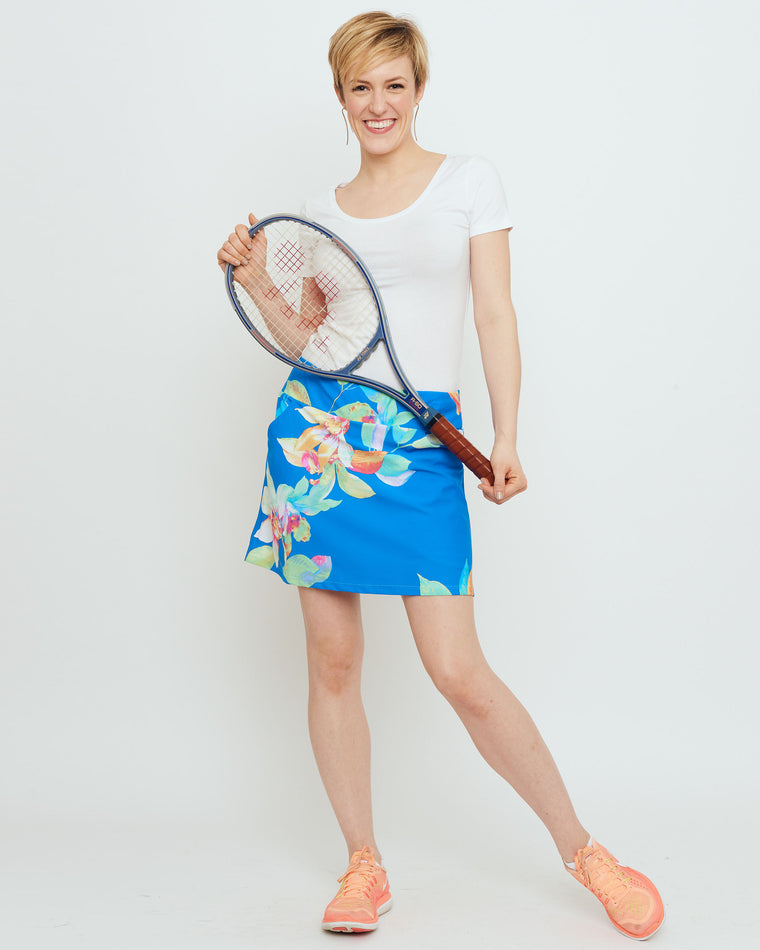 Tenerife Skort in Blue Tropical