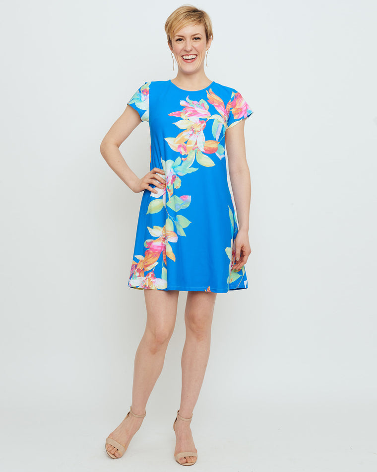 Ibiza T-Shirt Dress in Blue Tropical