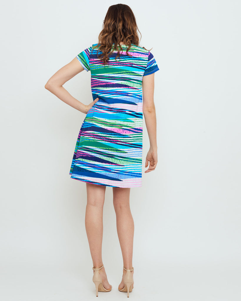 Ibiza T-Shirt Dress in Turquoise Seersucker Stripes