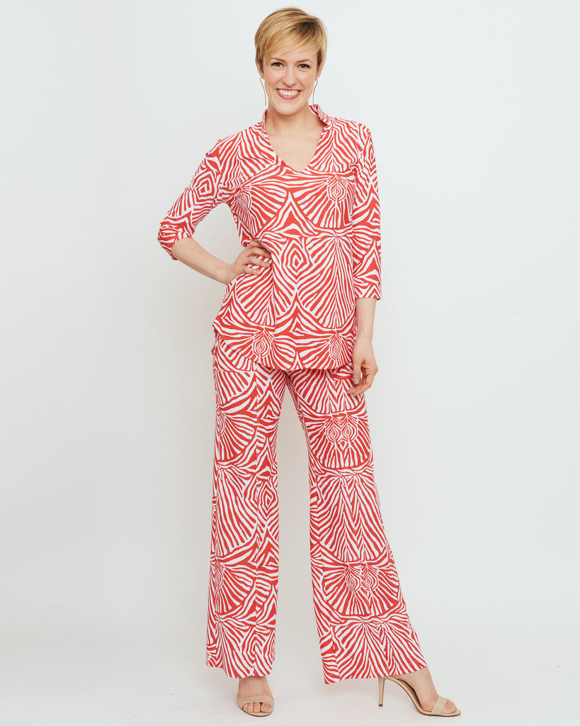 Batam Mandarin Top in Coral Safari Stripes