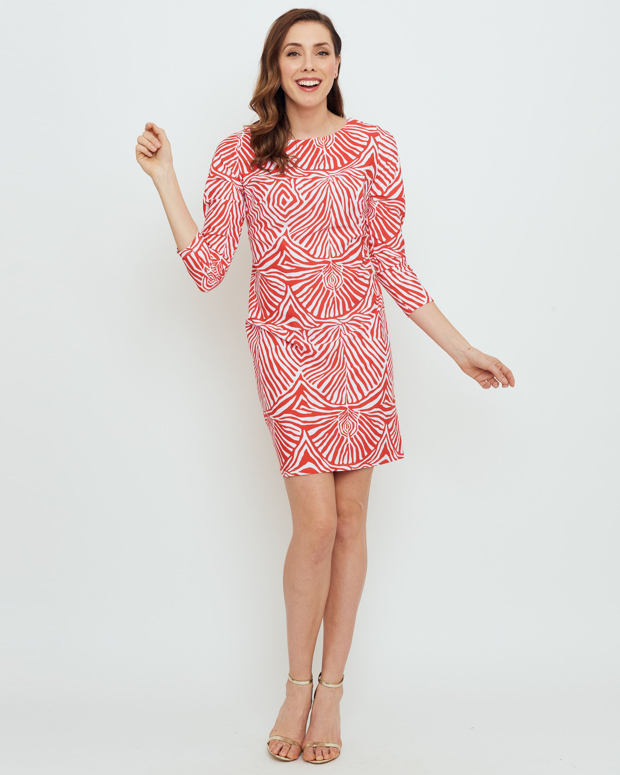1d7d8aaeaa44 Adonara 3/4 Sleeve Boatneck Dress in Coral Safari Stripes - BO&NIC