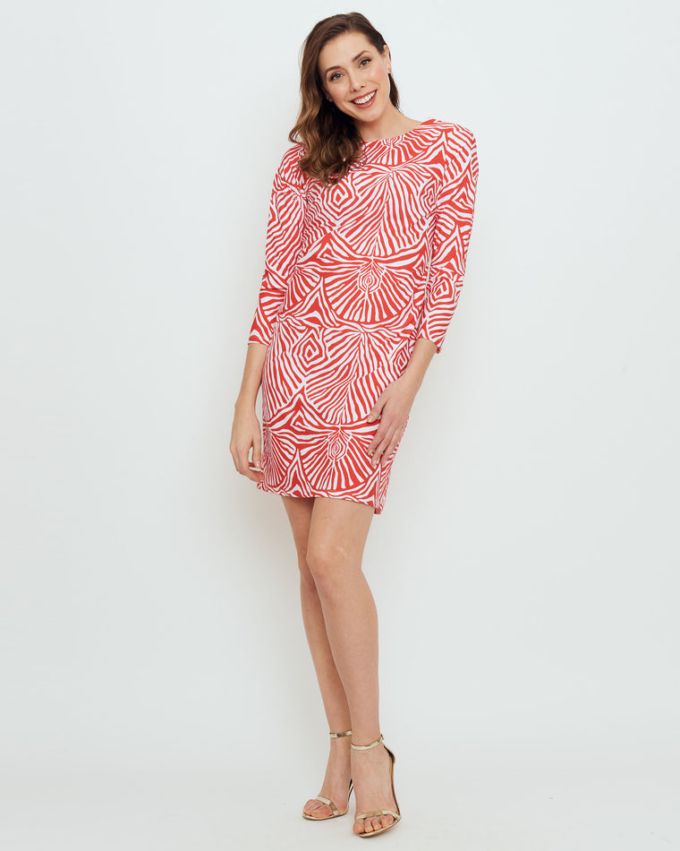 Adonara 3/4 Sleeve Boatneck Dress in Coral Safari Stripes