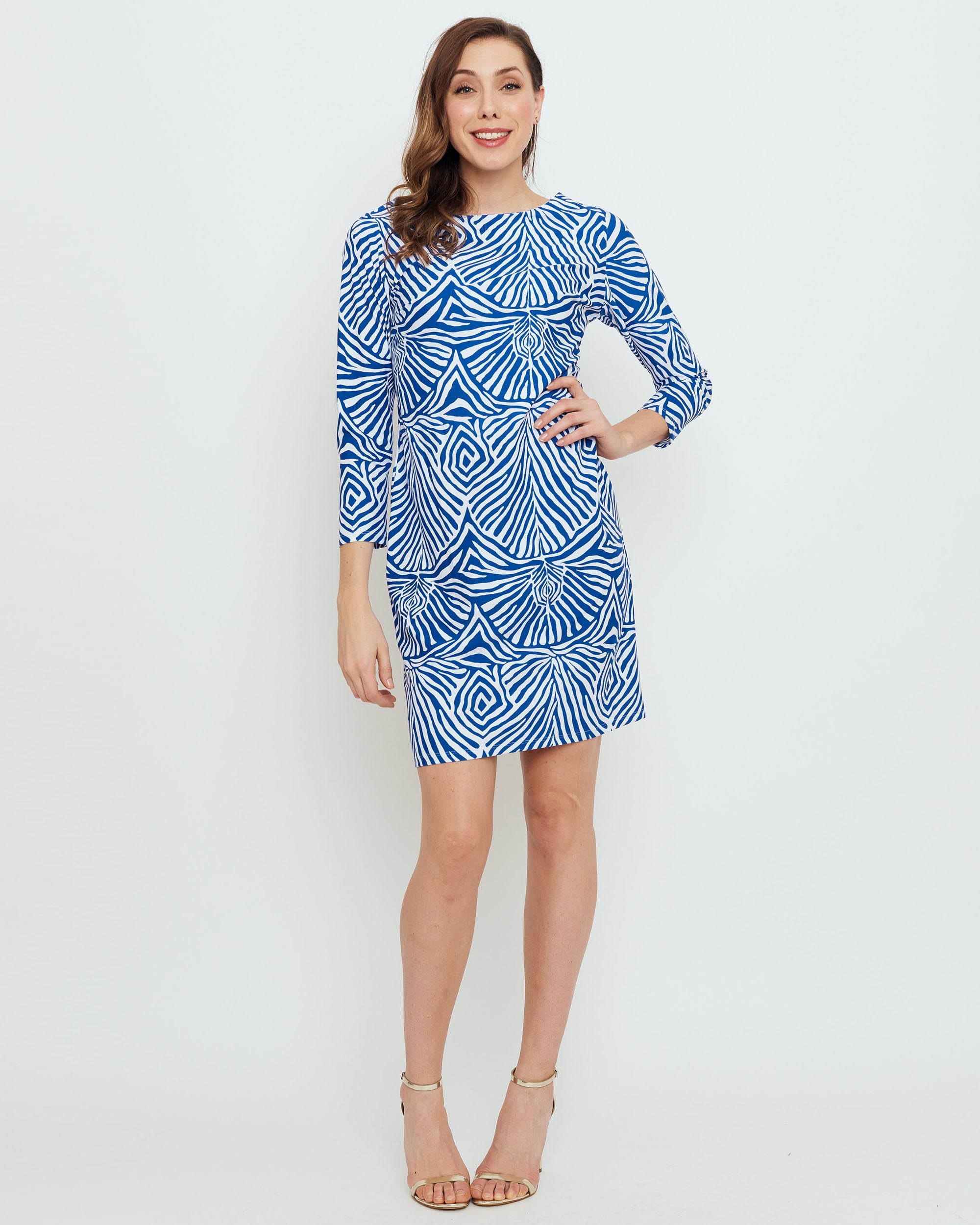 7649c1400205 Adonara 3/4 Sleeve Boatneck Dress in Blue Safari Stripes - BO&NIC