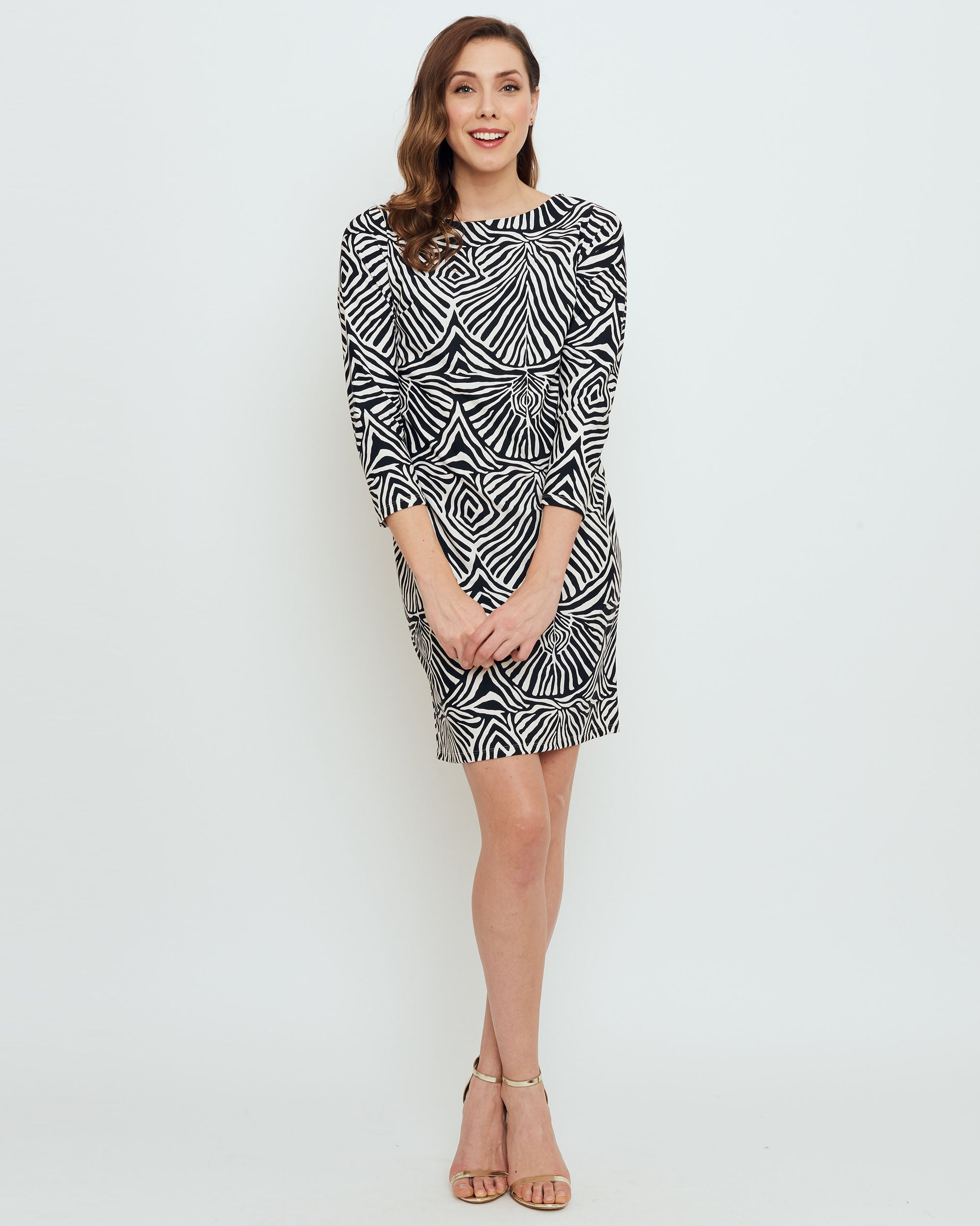 b1b1f94e1097 Adonara 3/4 Sleeve Boatneck Dress in Black Safari Stripes - BO&NIC